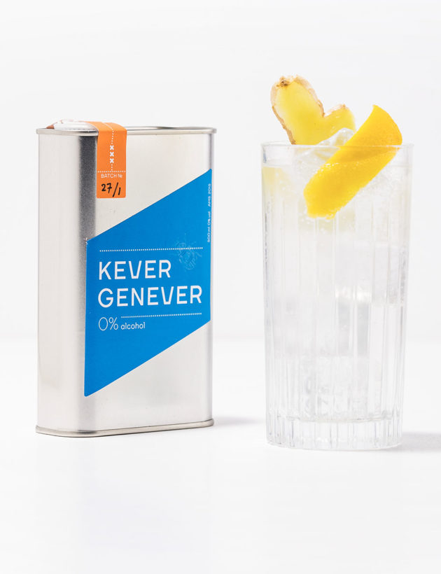 Kever 0% perfect serve with ginger and lemon